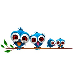 cute blue bird cartoon family vector image