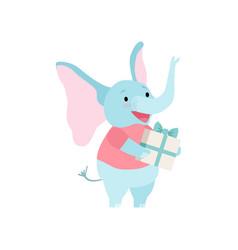 cute elephant holding gift box funny animal vector image