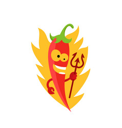 devilish red hot pepper very spicy food devil vector image