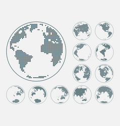 Dotted digital earth globes sets vector