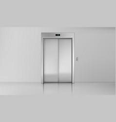 Elevator doors close chrome lift cabin entrance vector