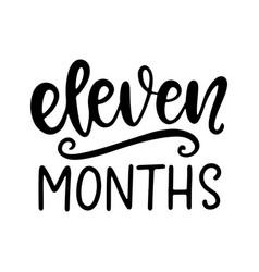 Eleven months baby shower newborn age marker vector
