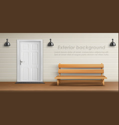 Exterior background with veranda facade vector