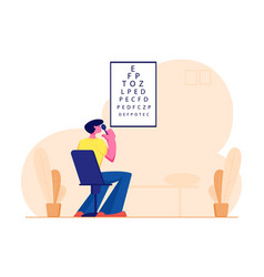 Eyesight check up procedure in clinic man looking vector
