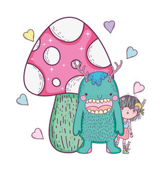 fairy and monster with fungus and hearts vector image