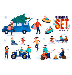 family christmas time flat characters set vector image