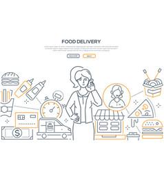 food delivery - modern line design style banner vector image