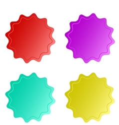 Four empty multicolored glossy round stickers with vector image