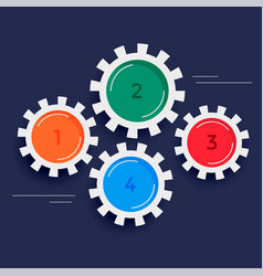 Four steps gears infographic background vector