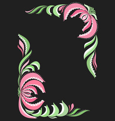 frame with flowers and leafs green and pink vector image