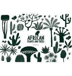 fun hand drawn african plants and trees design vector image