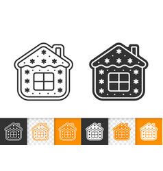 Gingerbread cookie house black line icon vector
