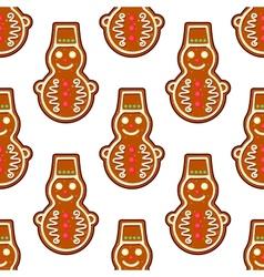 Gingerbread snowman seamless pattern vector