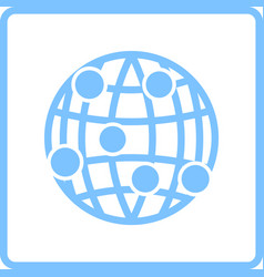 Globe connection point icon vector