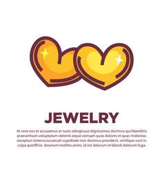 Golden jewelry hearts vector