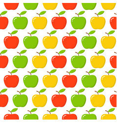 green red yellow apple seamless endless pattern vector image