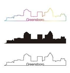 Greensboro skyline linear style with rainbow vector