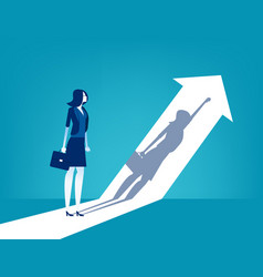 Growth businesswoman and his shadow indicates vector