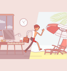Half of a man leaps to vacation vector