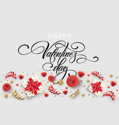 hand drawn calligraphy lettering happy valentine vector image