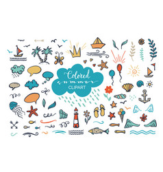 hand-drawn colored clipart on sea ocean summer vector image