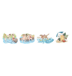 happy friends on holidays people jump in water vector image