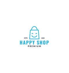 Happy shop or shop bag smile logo design line vector