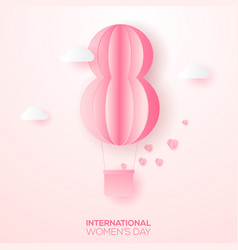 happy women s day greeting card with paper eight vector image