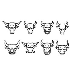 Head bull logo icon designs with chain on neck vector