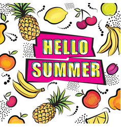 hello summer card tropical fuit set dotted vector image