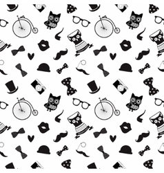Hipster Black and White Seamless Pattern vector image