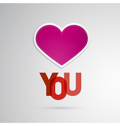 I Love You Theme Pink Heart on Grey Background vector image