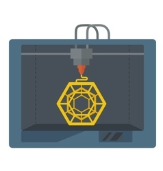 Isometric 3D Printer on a white background vector image