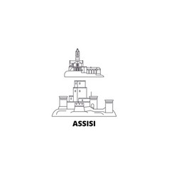 Italy assisi line travel skyline set italy vector