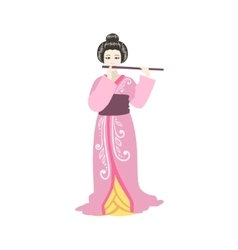 Japanese geisha playing flute vector