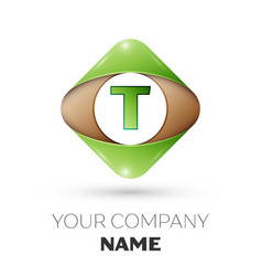 letter t logo symbol on colorful rhombus vector image