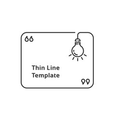 lineart quotation template with lightbulb vector image
