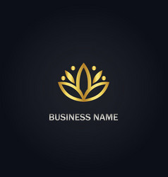 Lotus flower sign gold logo vector