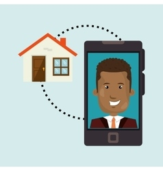 Man smartphone insurance secure vector