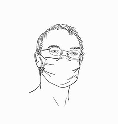 Man wearing medical face mask and eyeglasses hand vector