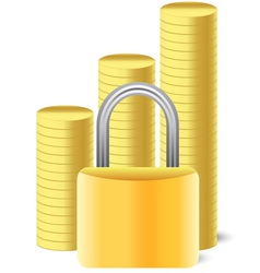 Money icon with lock and coins vector
