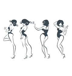 new pin up girls vector image