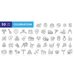 party line icon set included icons as celebrate vector image