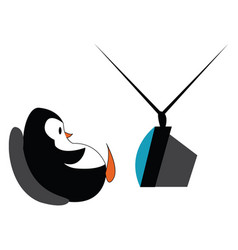Penguin watching tv or color vector