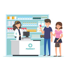 Pharmacy with pharmacist in counter vector