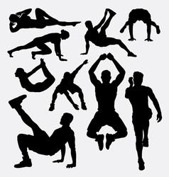 Pilates female sport silhouette vector