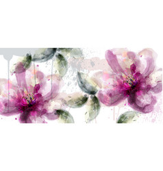 pink lily flowers banner watercolor vector image