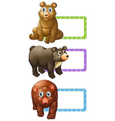 Polkadot lables with bears vector