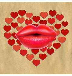 Red Lips With Hearts And Paper vector