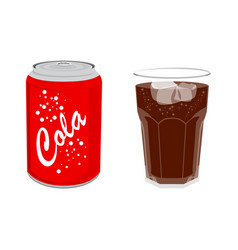 Refreshing cold soda iced soft drinks in can and vector